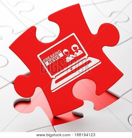 News concept: Breaking News On Laptop on Red puzzle pieces background, 3D rendering