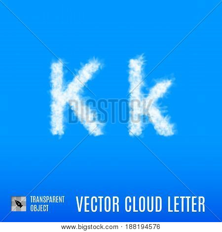 Clouds in Shape of the Letter K on Blue Background