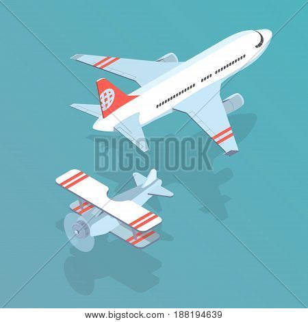 Airplane and biplane isometric isolated vector illustration