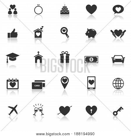 Family icons with reflect on white background, stock vector