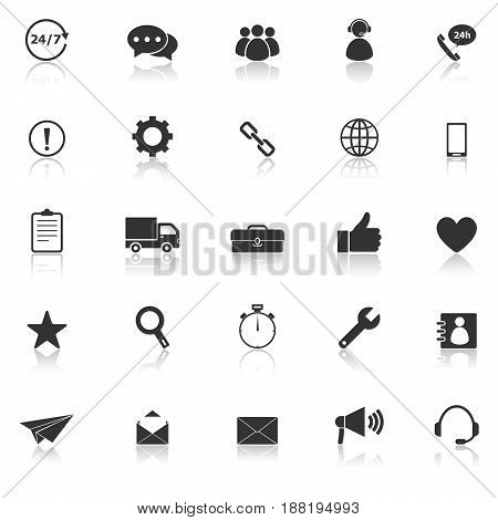 Customer service icons with reflect on white background, stock vector