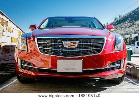 Park City UT May 12 2017: Brand new Cadillac is displayed at the base of Deer Valley ski resort.