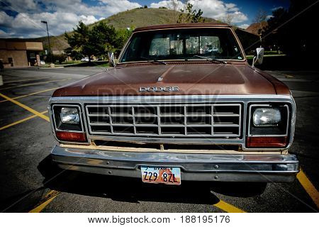 Park City UT May 12 2017: Old Dodge truck is parked in a lot.
