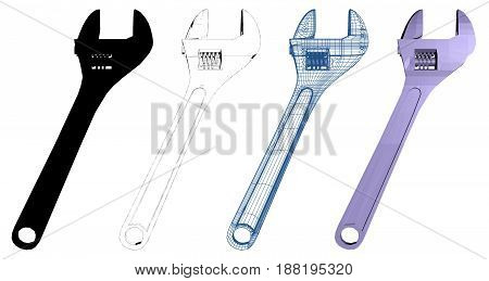 Adjustable Cross Customized Wrench Illustration Isolated Vector