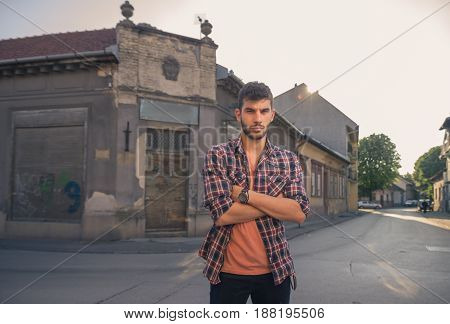 One Young Man, Upper Body Portrait, Old City, Village Intersection Crossing