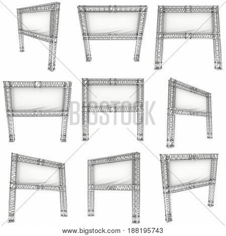 Steel truss girder element banner construction set. 3d render press wall isolated on white