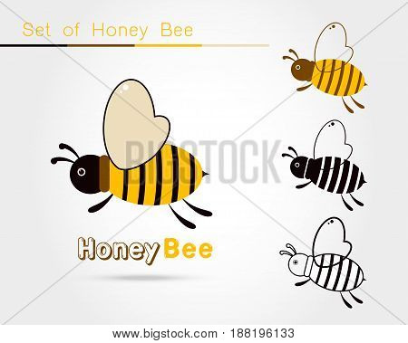 set of Bee logo icon isolated on white background. Honey flying bee. Insect. Flat style vector illustration.