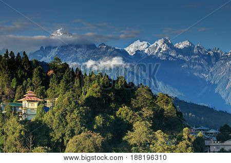 Beautiful view of Himalayan mountains at Ravangla Sikkim. Himalaya is the great mountain range in Asia with more than 50 peaks mostly highest including mount Everest - at 29029 feet the highest in the world.