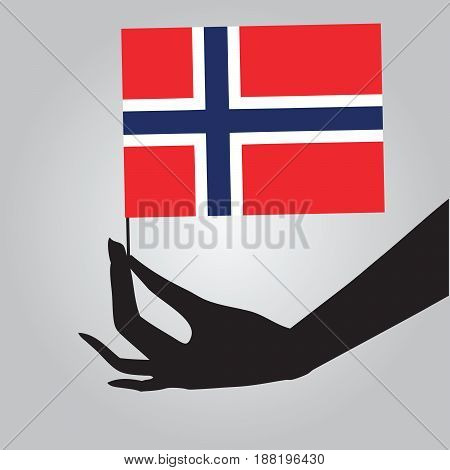 Flag of Norway in a female hand. Vector illustration.