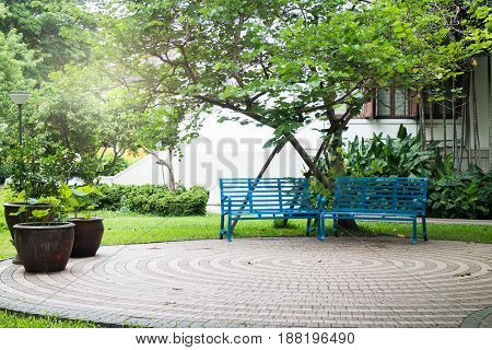 Simply Bench In Green Garden stock photo