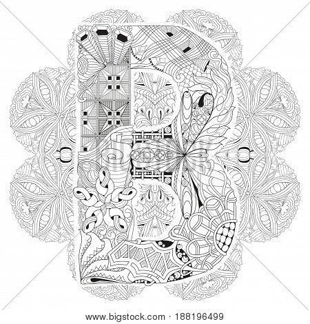 Hand-painted art design. Adult anti-stress coloring page. Black and white hand drawn illustration mandala with letter B for coloring book