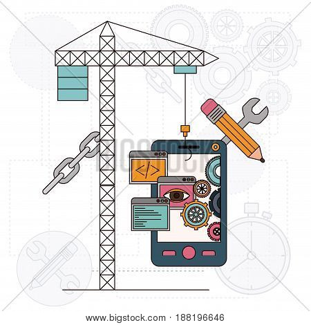 background with crane and smartphone for development of the construction vector illustration