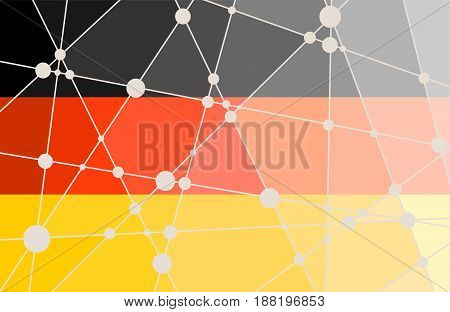 Flag of the Germany. Low poly concept triangular style. Molecule And Communication Background. Connected lines with dots.
