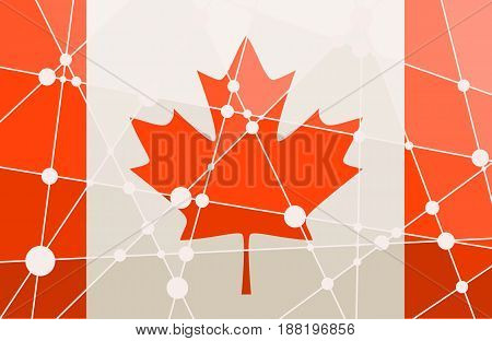 Flag of the Canada. Low poly concept triangular style. Molecule And Communication Background. Connected lines with dots.