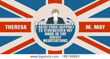 United Kingdom - April, 2017: A illustration of a woman icon and the Prime Minister of the United Kingdom Theresa May name. Herself quote text. Flag of the Great Britain on backdrop