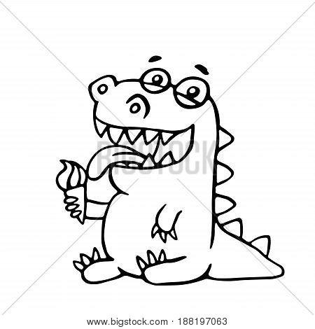 Cute dragon licks plombir. Vector illustration. Funny cartoon character.