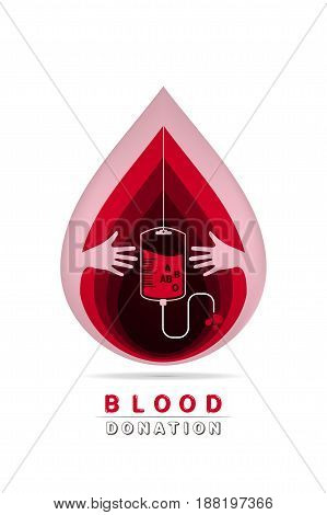 paper art carving logotype blood donation help the sick and needy. dropper with a drop of blood Vector illustration