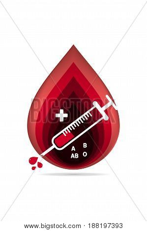 logotype blood donation, help the sick and needy. dropper with a drop of blood, Vector illustration