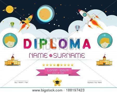 Certificate kids diploma kindergarten template layout space background frame design vector. education preschool concept flat art style