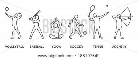 Vector line silhouettes of sportsmen. Volleyball baseball yoga soccer tennis and archery.