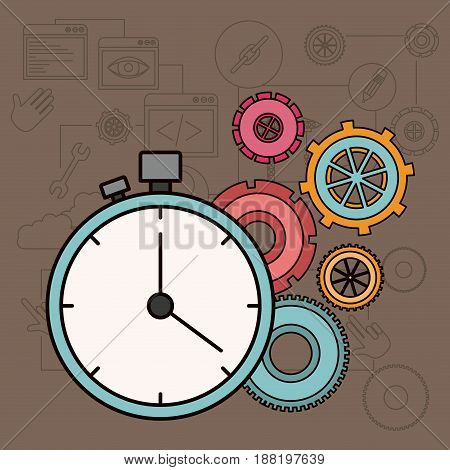 background with time factor in process of the construction vector illustration