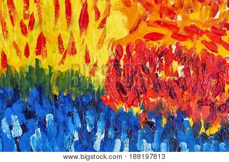 Colorful abstract background with oil paints. Yellow red green and blue colors. Brush strokes. Riot of colors. Color transitions. Impressionism. Design Elements