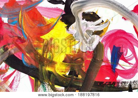 Abstraction of oil paints on canvas. Avant-garde art. Modern Art. Yellow white and red colors.