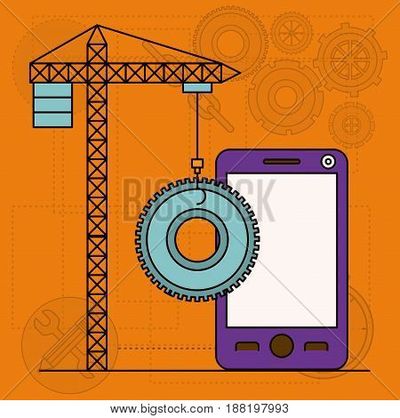 background with crane tower and pinion and smartphone vector illustration