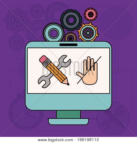 background with desktop computer and tools for creative vector illustration