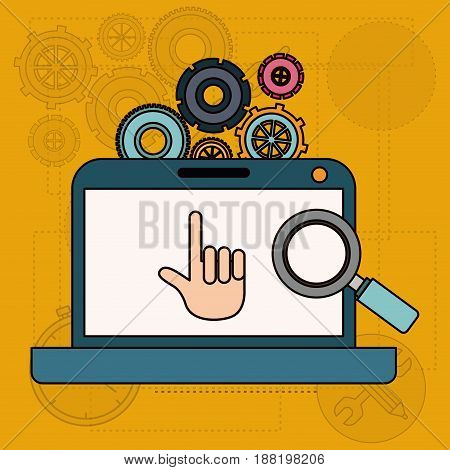 background with laptop computer and tools for search vector illustration