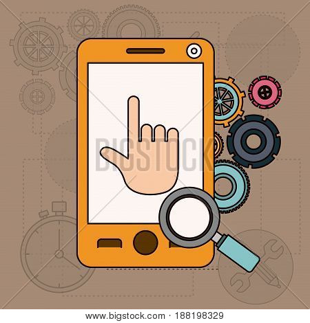 background with smartphone and tools for search vector illustration