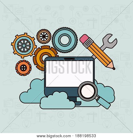 background with desktop computer and search tools cloud service vector illustration