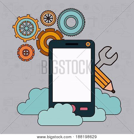 background with smartphone and storage cloud service vector illustration