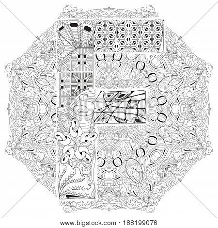 Hand-painted art design. Adult anti-stress coloring page. Black and white hand drawn illustration mandala with letter F for coloring book