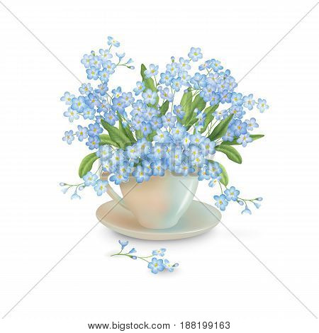 Spring bouquet of flowers in teacup on a white background. Vector composition