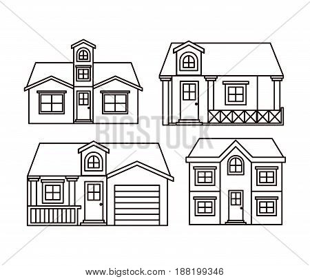 monochrome background with group of houses facades vector illustration