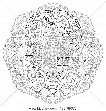 Hand-painted art design. Adult anti-stress coloring page. Black and white hand drawn illustration mandala with letter G for coloring book