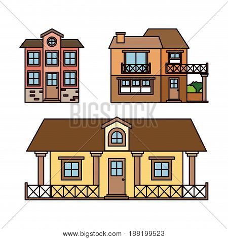 background with colorful set of country houses facades vector illustration