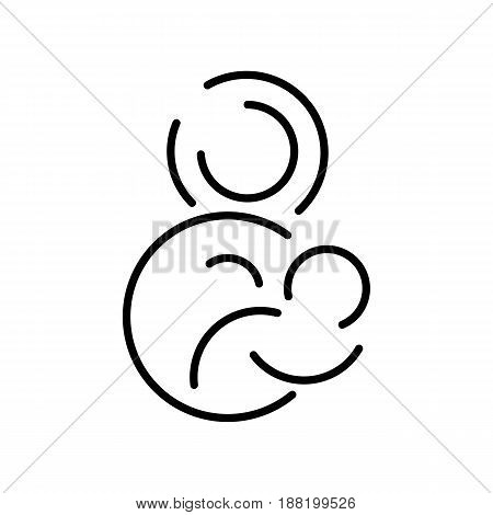 Circle style image of breastfeeding. Mother holding newborn