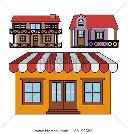 background with colorful set of balcony houses and house with sunshade vector illustration