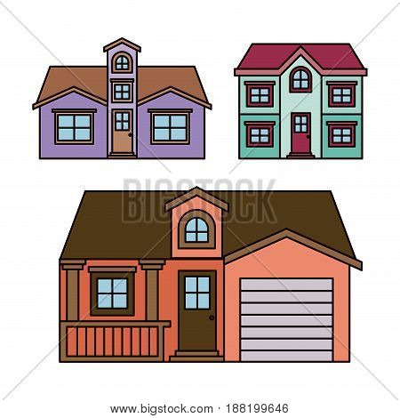 background with colorful group of houses facades vector illustration
