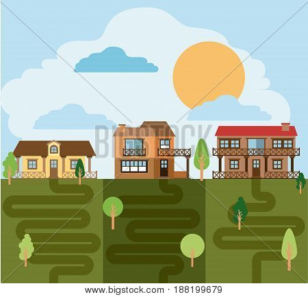 colorful landscape with group of country houses vector illustration