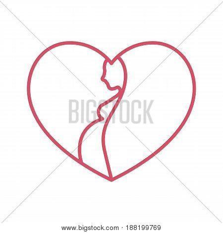 Pregnant woman silhouette in heart shape. Pregnancy stylized symbol