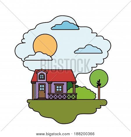 colorful scene of country house with railing in sunny day vector illustration