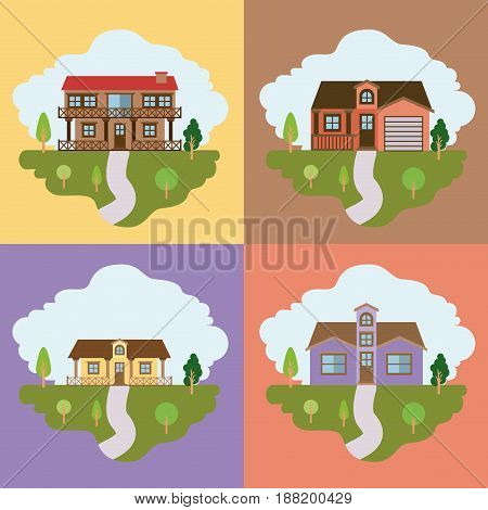 colorful landscape with group of country houses frames scenes vector illustration