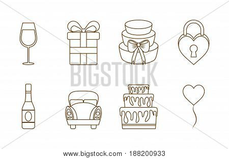 wedding related icons over white background. vector illustration