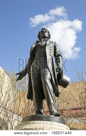 Saint Petersburg, Russia,may 04, 2017:Monument to A.S. Pushkin in the courtyard of the building with a museum