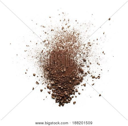 Shattered coffee powder isolated on white background