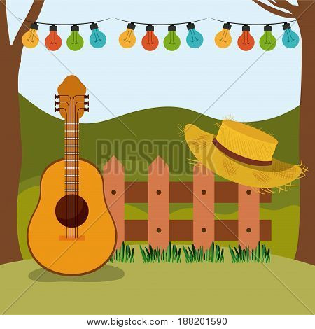 colorful background of festa junina with rural landscape and wooden railing with guitar and hat vector illustration