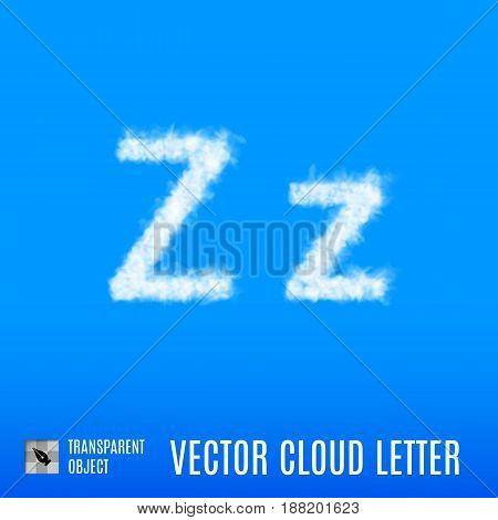 Clouds in Shape of the Letter Z on Blue Background